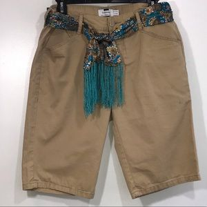 Topman Long Shorts With Scarf Belt